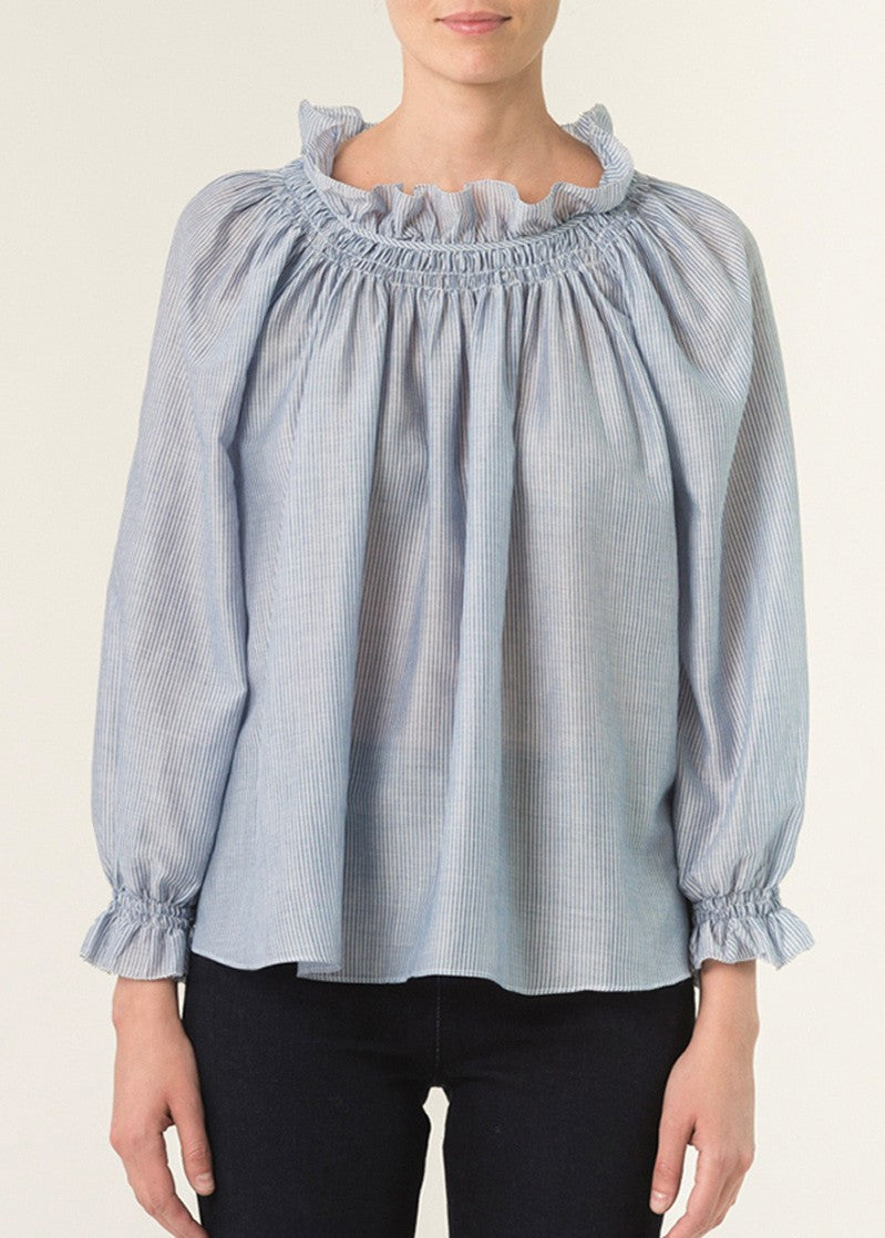 Vanessa Bruno Isa long sleeve ruffle neck blouse in marine