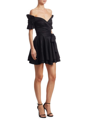 Jonathan Simkhai Ruched Taffeta Mini Wrap Dress black