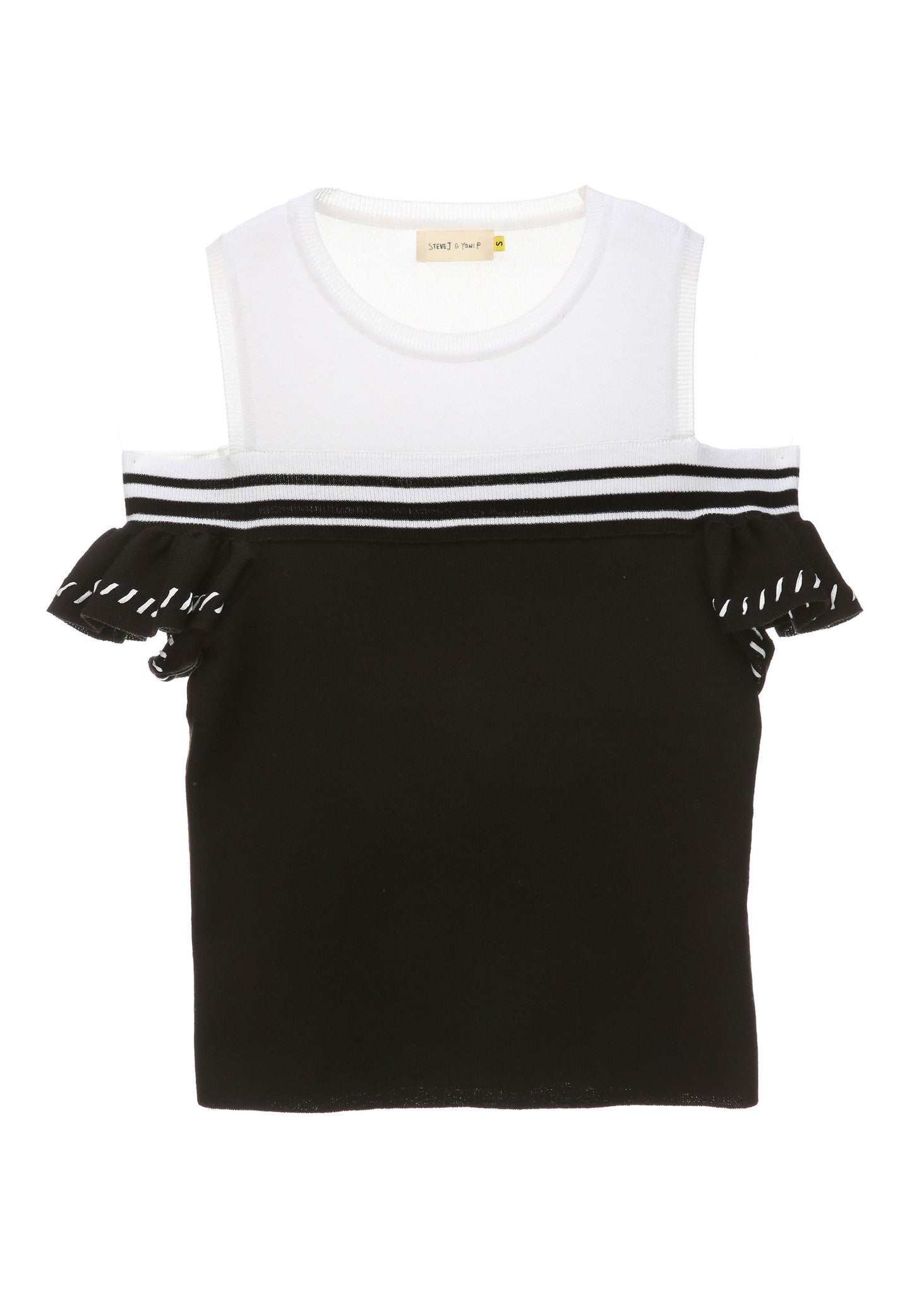 SJYP SHOULDER CUT KNIT TOP black