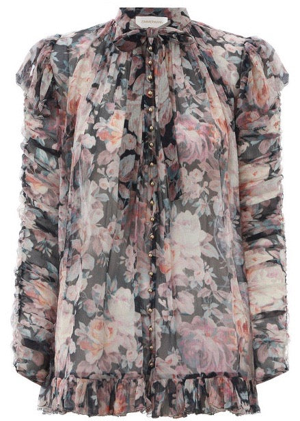 Zimmermann Tempest frolic blouse in black faded floral