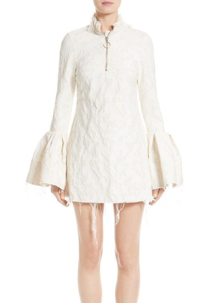 Marques Almeida mini dress with frill cuffs ivory