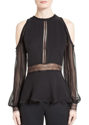 Jonathan Simkhai silk cold shoulder top black