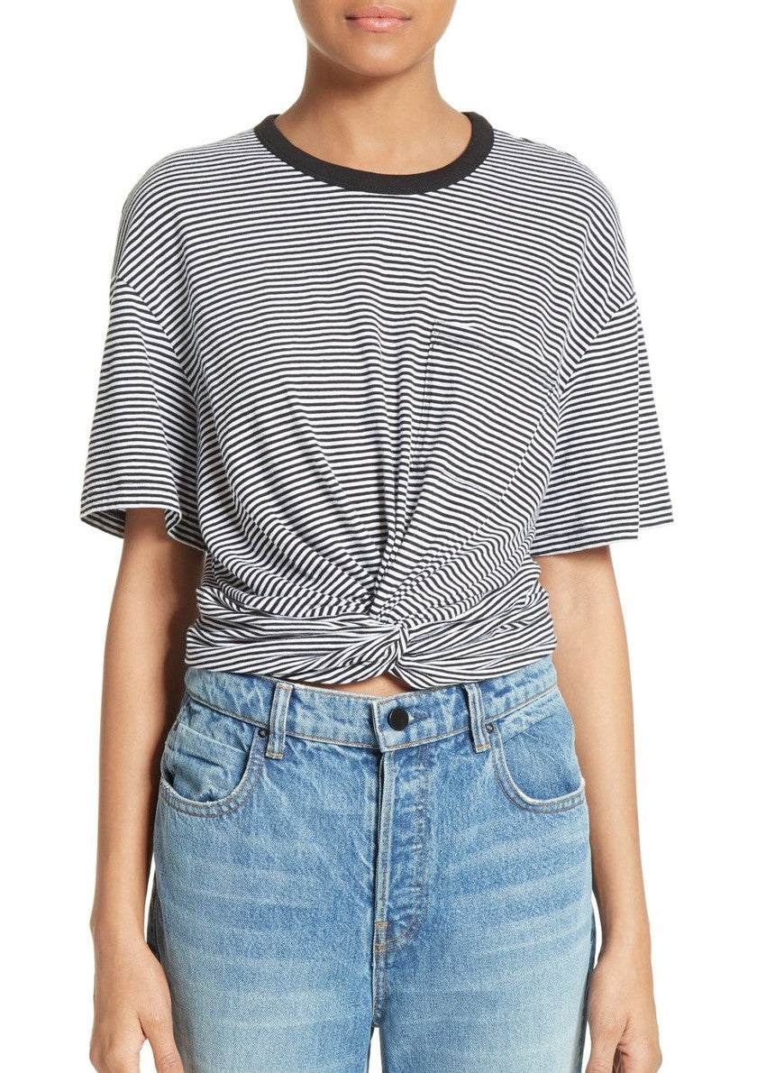 T by Alexander Wang stripe twist front tee black white