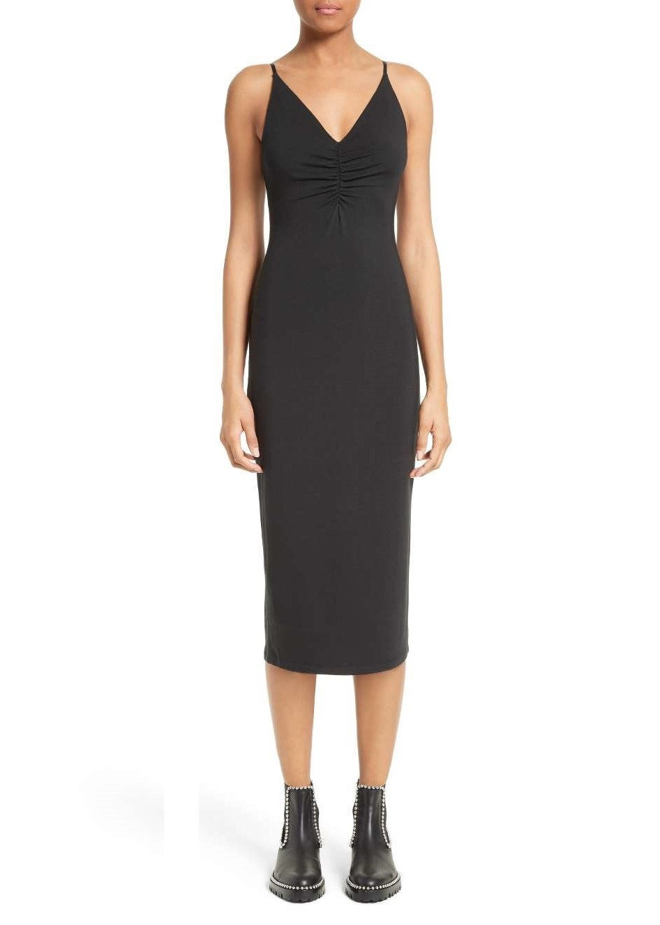 T by Alexander Wang shirred front dress black