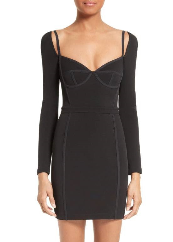 T by Alexander Wang fitted long sleeve bustier dress black