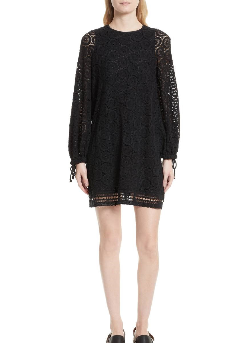 See by Chloe long sleeve dress black