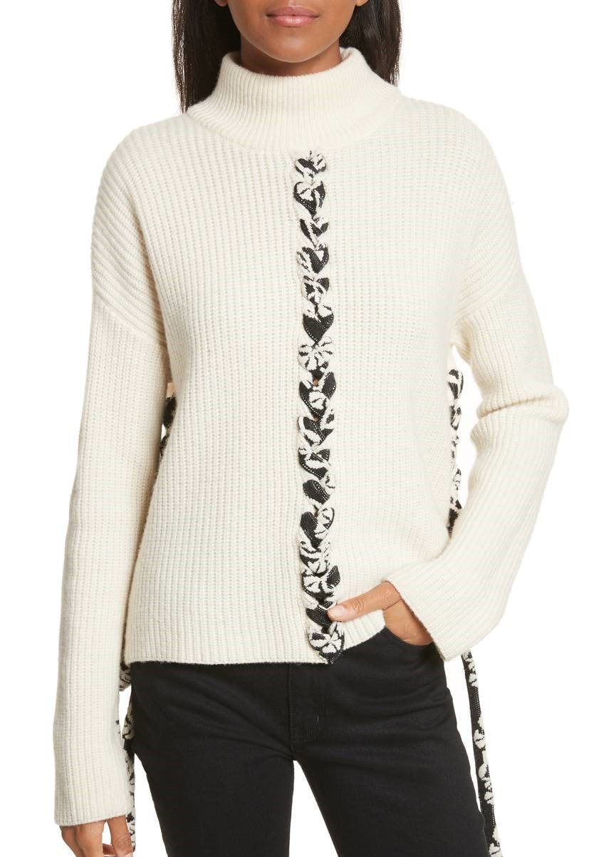 Tabula Rasa mughal lace up sweater ivory