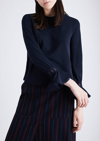 See by Chloe bell sleeve blouse navy