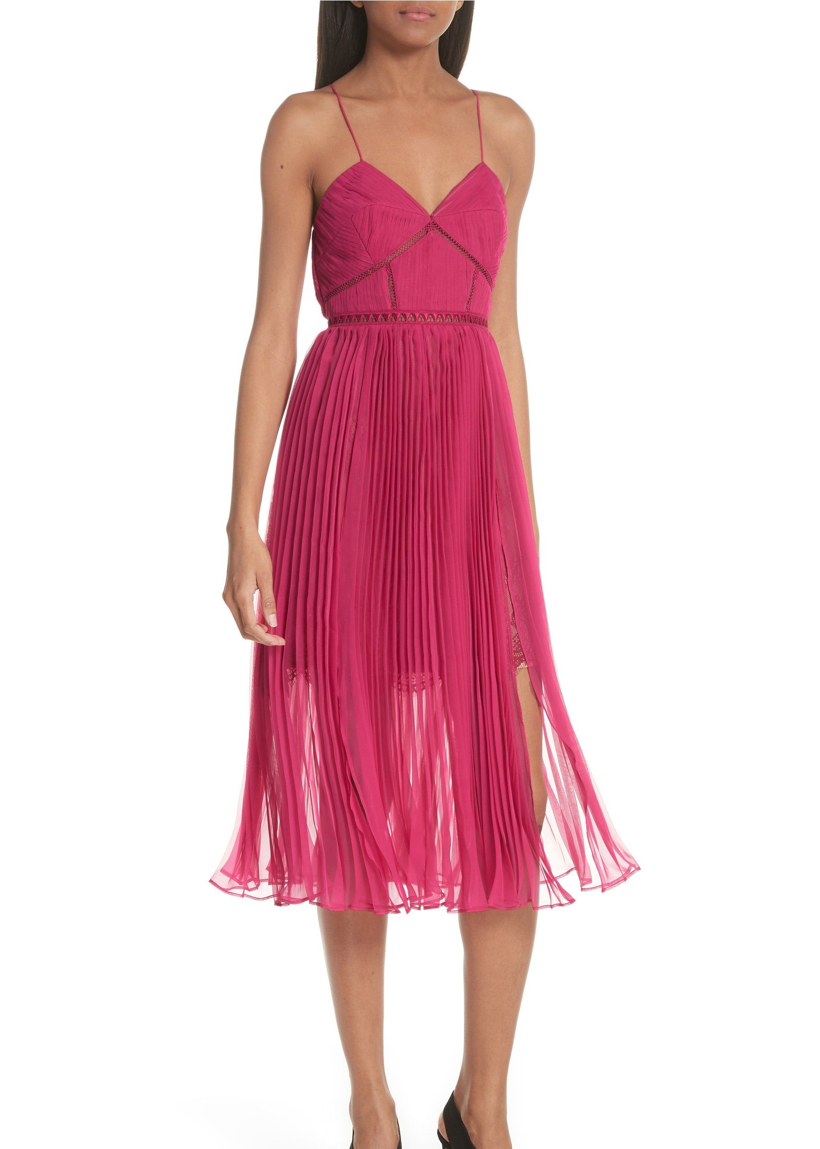 Self Portrait pleated chiffon midi dress in fuschia