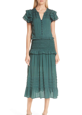 Sea Azzedine flutter sleeve midi-dress in forest