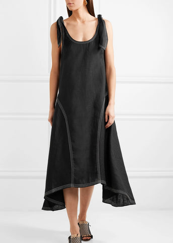 Paper London Ricki baker linen dress in black