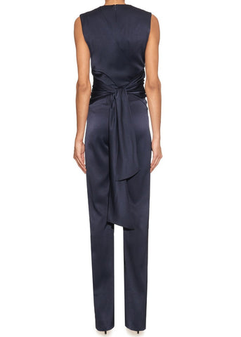 Galvan satin wrap jumpsuit midnight