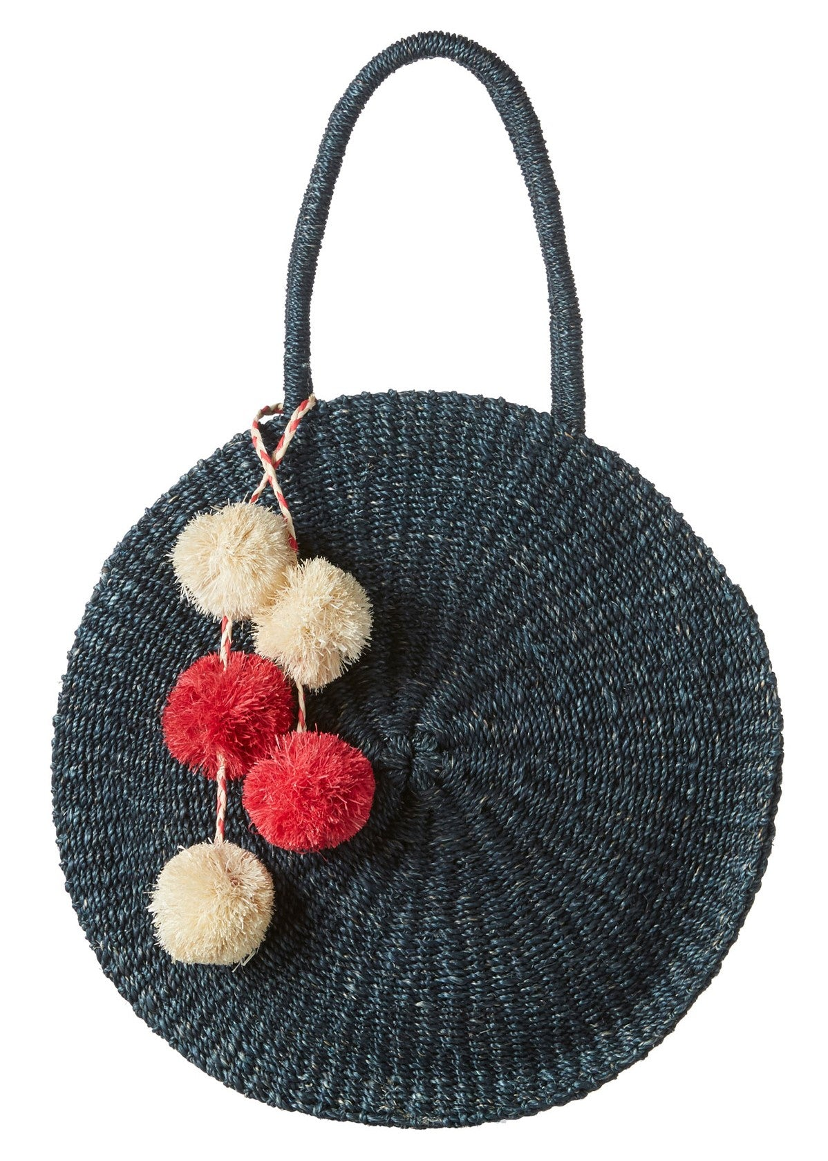 Kayu Sienna round straw bag in navy