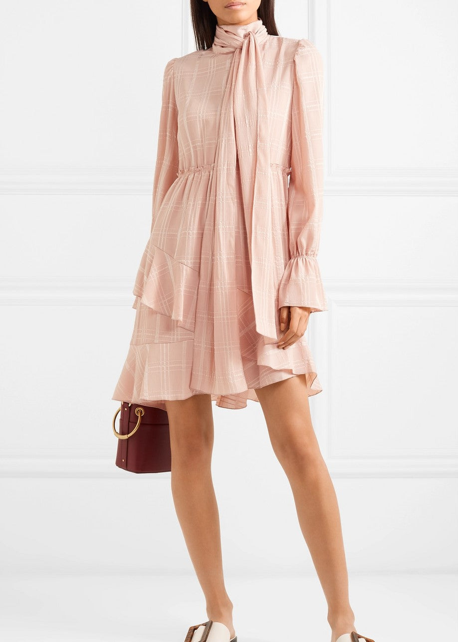 See by Chloe Tie neck dress in smoky pink
