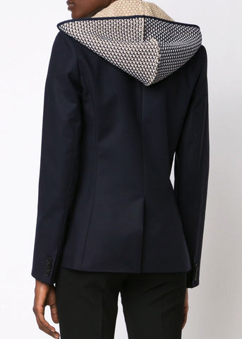 Veronica Beard navy classic jacket with blue waffle knit hood dickey
