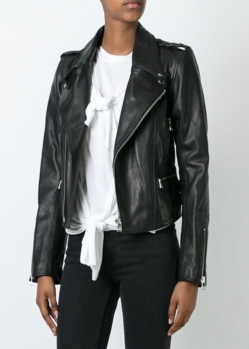 Faith Connexion boxy leather moto jacket black