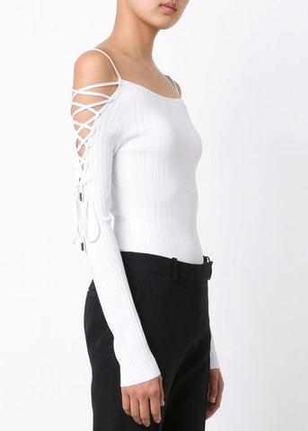 Cushnie et Ochs bodysuit w/ lace up sleeves soft white