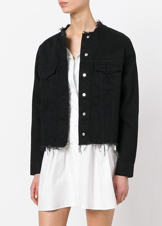 Marques Almeida denim collarless jacket black