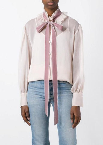 See by Chloe tie neck blouse powder