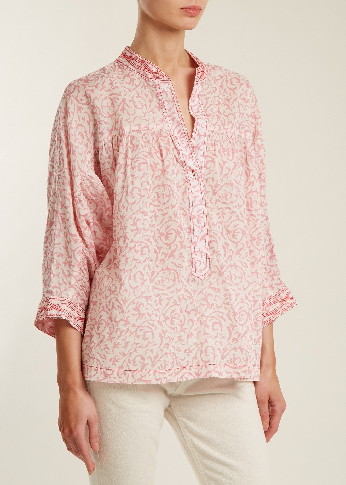 Masscob Mao collared v-neck blouse in rose print