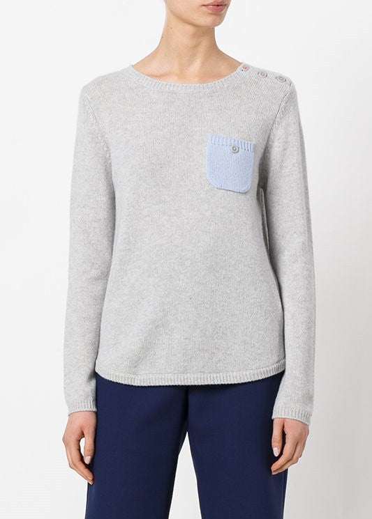 Chinti & Parker one pocket sweater grey baby blue