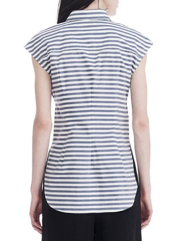 T by Alexander Wang collared tie front shirt white blue stripe