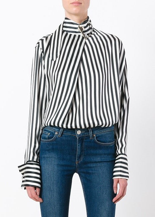 Marques Almeida halterneck top with neck buckle black white stripe