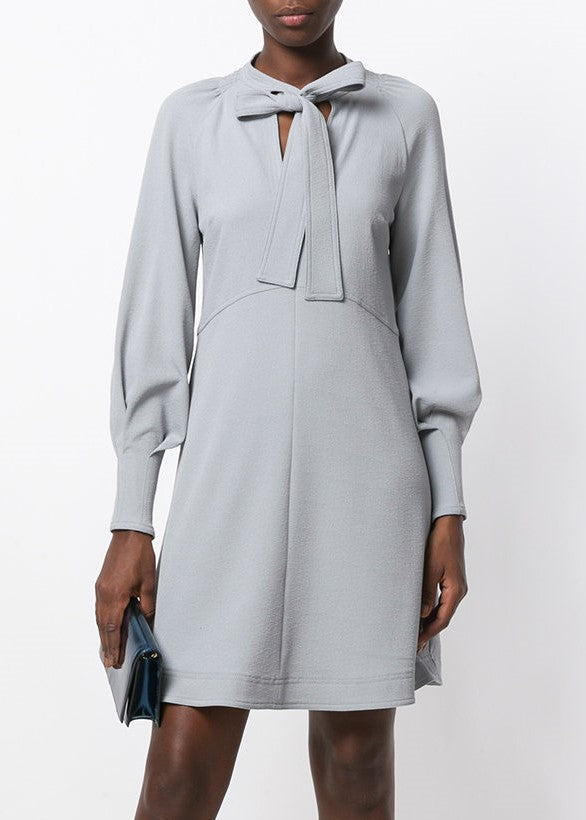 See by Chloe tie neck long sleeve dress grey
