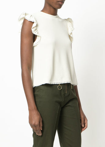 See by Chloe sleeveless ruffle top antique white