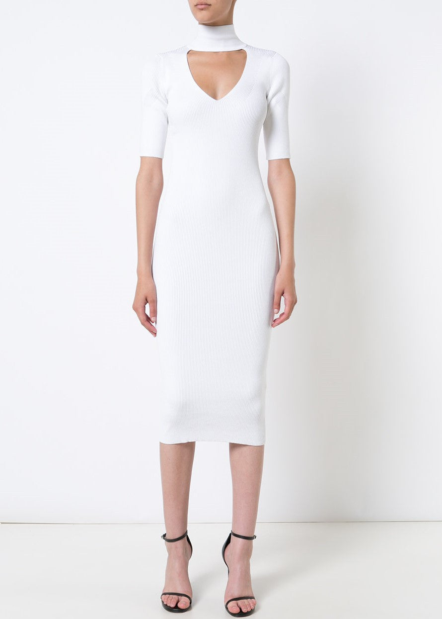 Cushnie et Ochs Cutout Turtleneck Pencil Dress white