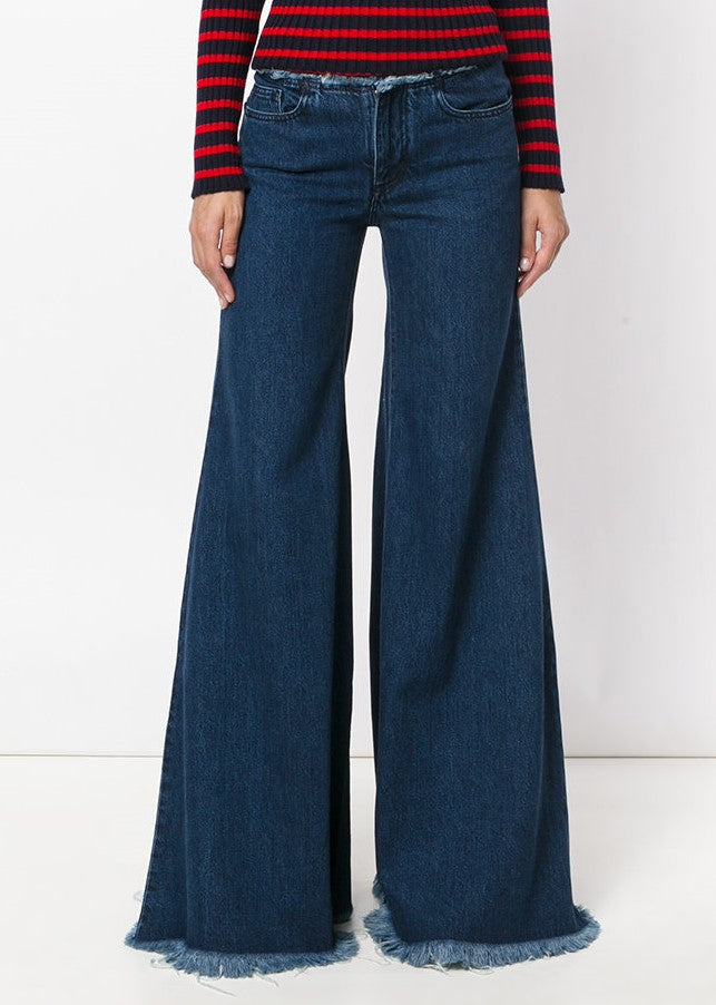 Marques Almeida super flare indigo denim