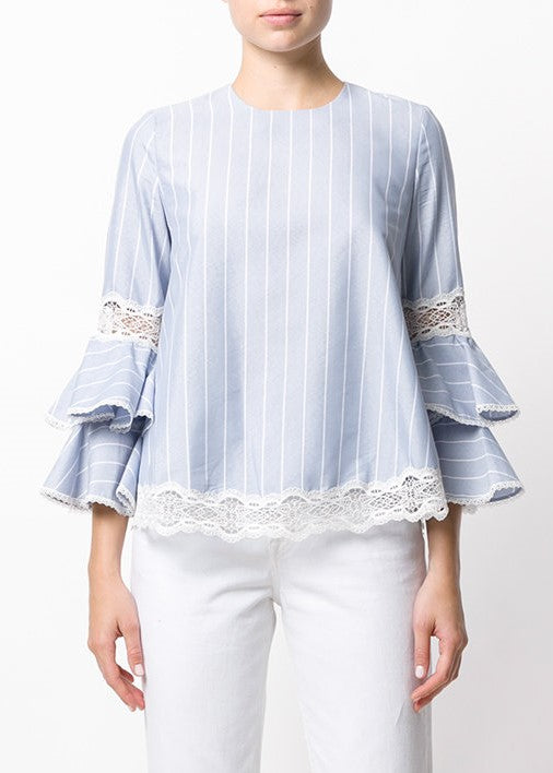 Jonathan Simkhai bold stripe poplin long sleeve top blue