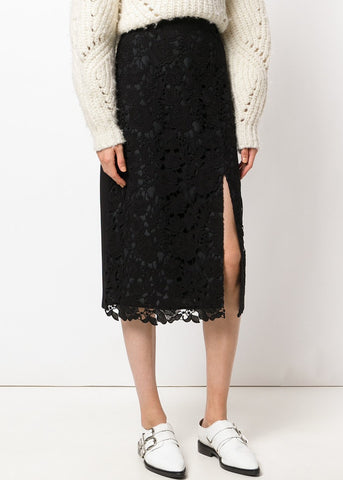 MSGM slit pencil skirt with lace front black