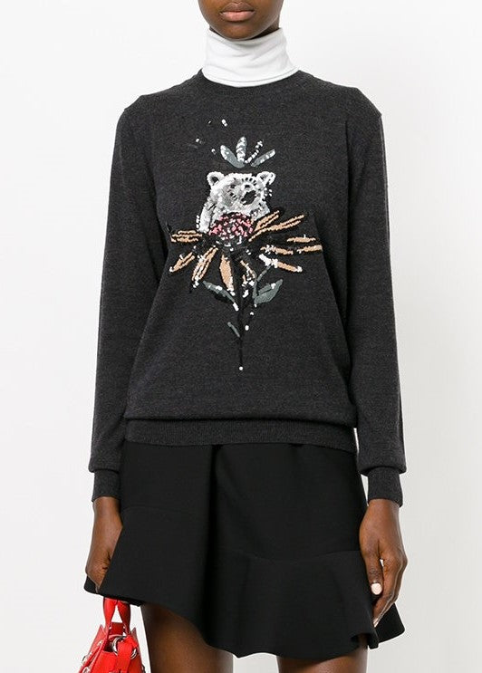 Markus Lupfer sequin bear and flower natalie sweater charcoal