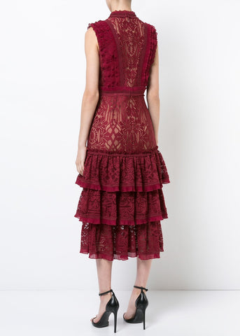 Jonathan Simkhai Tower Mesh Lace Ruffle Layered Dress cabernet