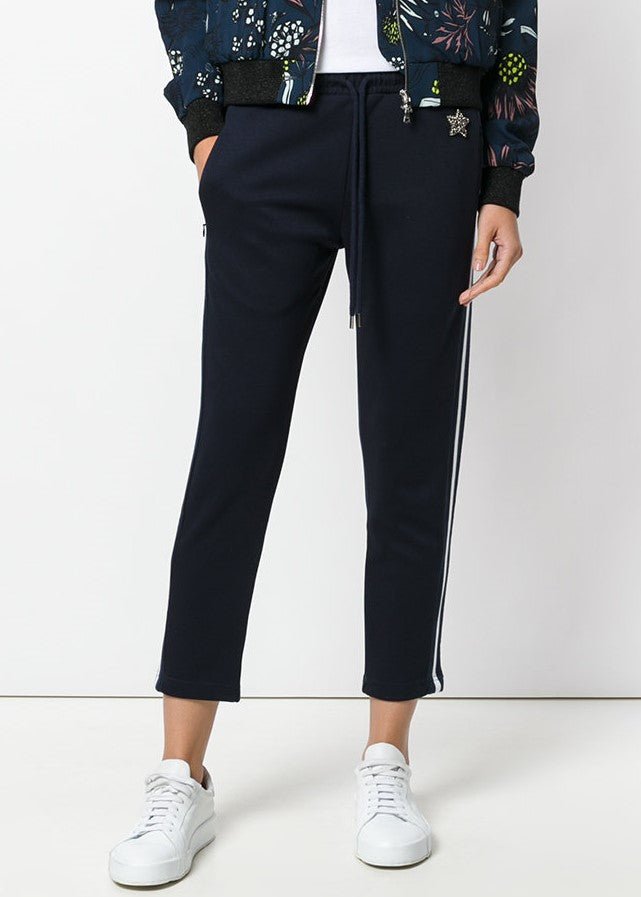 Markus Lupfer jewel star badge track pant navy