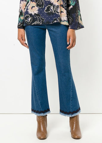 See by Chloe denim with embroidered hem shady cobalt