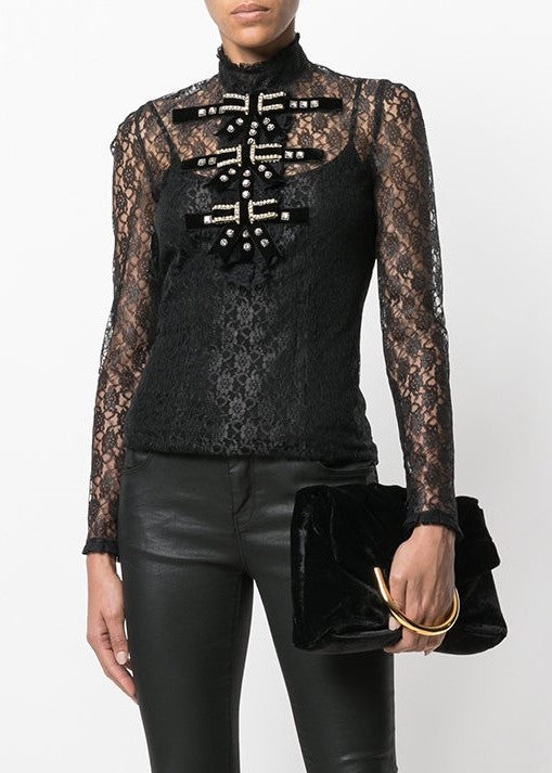 Philosophy di Lorenzo Serafini lace longsleeve top with bow front black
