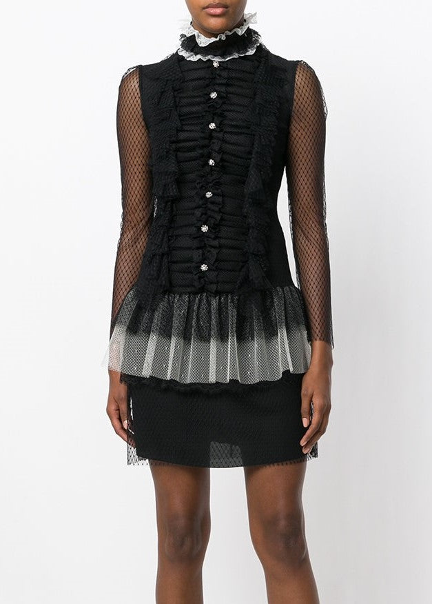 Philosophy di Lorenzo Serafini longsleeve lace mini dress black