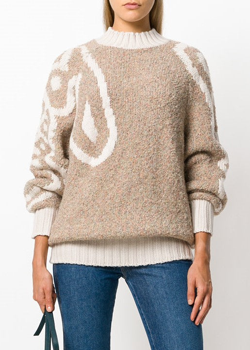 See by Chloe logo sweater dark ivory