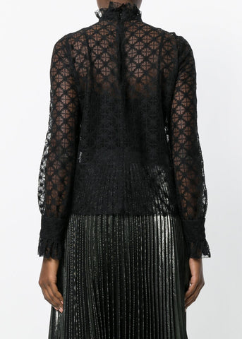 Philosophy di Lorenzo Serafini longsleeve lace top with ruffle neck black
