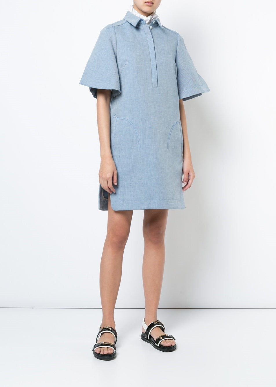 Carven short sleeve dress blue