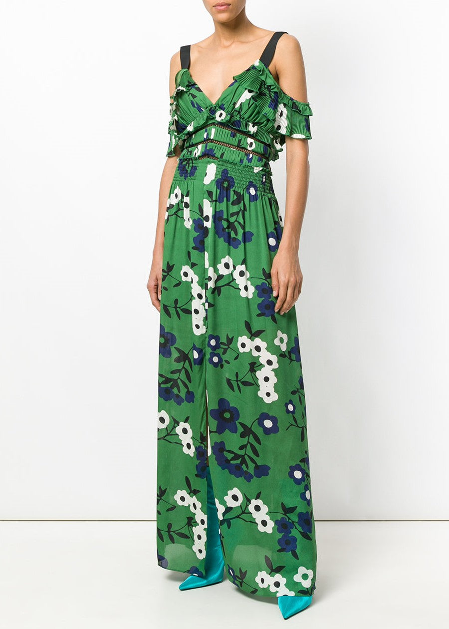 Self Portrait cold shoulder floral printed maxi dress green