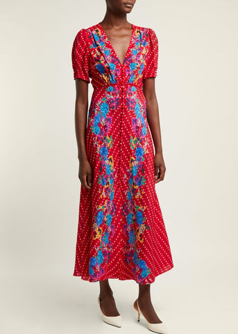 Saloni Lea long dress in scarlet polka dot