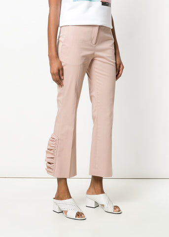 No. 21 flat front cropped pants with frill detail in cipria