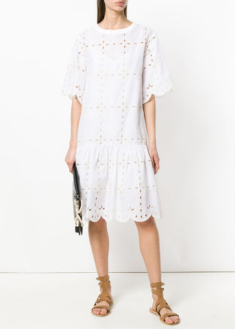 See by Chloe embroidered dress white