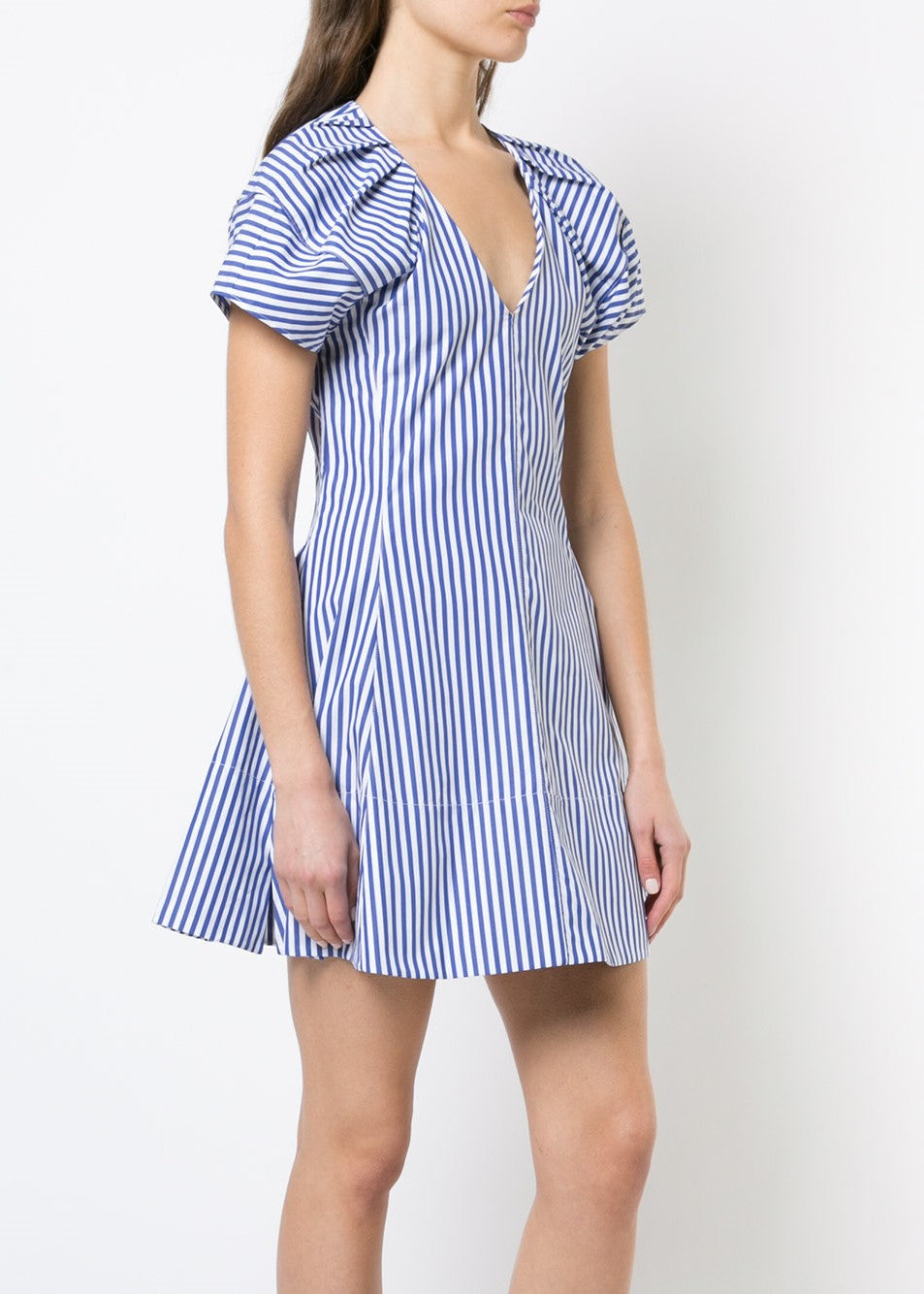 Khaite bianca dress royal/white stripe