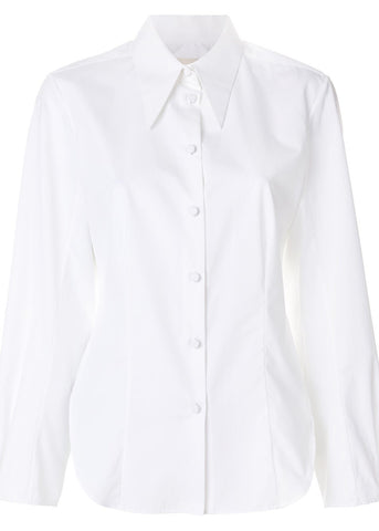 Khaite serena top white cotton poplin