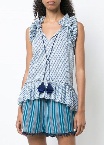 Figue Vera top in floral stripe-blue combo