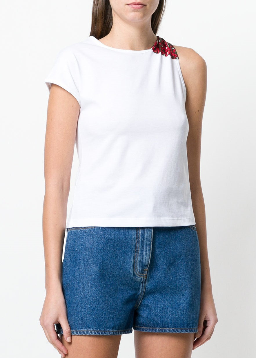 Carven asymmetrical top in blanc optique